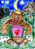 与口琴的熊 向量例证