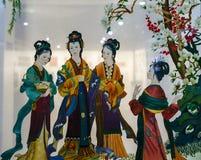与古老中国妇女样式的两面的刺绣 免版税图库摄影