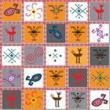 与古老标志和标志的图象的无缝的重复的纹理 皇族释放例证
