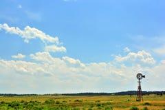 与古色古香的风车和松的Whi的农村大农场大草原领域 免版税库存照片