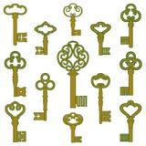 与古色装饰的古色古香的古铜色钥匙 库存图片