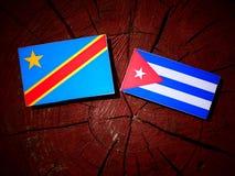 与古巴旗子的刚果民主共和国旗子在树 库存图片