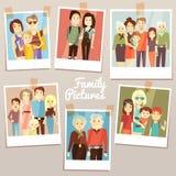 与另外世代传染媒介集合的愉快的家庭图片 照片家庭记忆 皇族释放例证