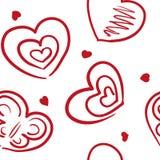 与另外徒手画的心脏样式的无缝的背景 图库摄影