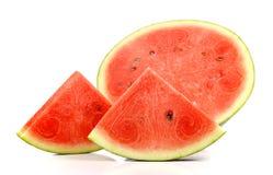 与叮咬标记,果子的西瓜切片为夏天 免版税库存照片