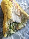 与叮咬的大三明治 免版税库存照片