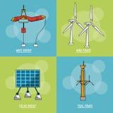 与可再造能源的类型的多彩多姿的方形的背景 库存例证