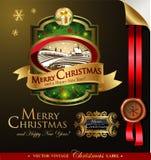 与可爱的冬天风景的圣诞节标签 免版税库存照片