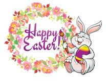 与可爱的复活节兔子的贺卡和春天开花框架 免版税库存照片