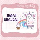 与可爱的女婴独角兽的生日快乐卡片 库存例证
