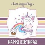 与可爱的女婴独角兽的生日快乐卡片 皇族释放例证