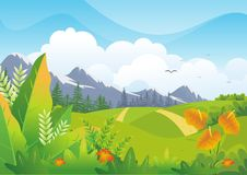 与可爱的风景设计的自然热带背景 库存例证
