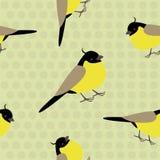与可爱的黄色鸟的无缝的样式在polkadot背景 向量例证