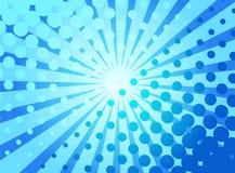 与可笑爆炸的光芒和的小点的蓝色流行艺术减速火箭的背景 向量例证