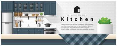 与台式和现代厨房背景的室内设计 库存例证