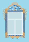 与台的窗口,特点俄罗斯文化 免版税图库摄影