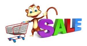 与台车的逗人喜爱的猴子漫画人物和销售签字 免版税库存照片