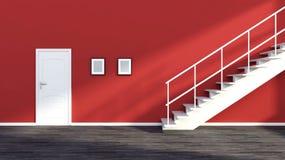 与台阶和门的空的红色内部 免版税库存照片