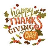 与叶子、南瓜和b的手拉的感恩贺卡 免版税库存图片