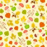 与叶子、苹果、蘑菇和花揪的秋天无缝的样式 免版税库存图片
