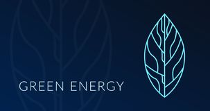 与叶子全息图略写法的绿色能量海报 库存例证