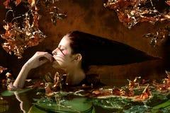 与叶子和分支的美丽的妇女画象在秋天wate 免版税图库摄影