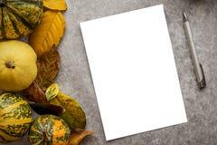 与叶子和南瓜的万圣夜背景 免版税库存照片