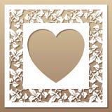 与叶子和心脏的透雕细工方形的框架 免版税库存照片