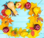 与叶子和收获的秋天背景在蓝色木书桌wi 库存照片