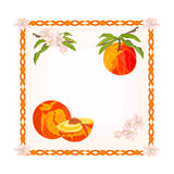 与叶子和花传染媒介的按钮桃子 图库摄影
