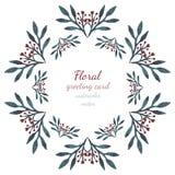 与叶子和花心脏,画的传染媒介框架水彩的花卉收藏 为邀请、婚礼或者贺卡设计 免版税库存照片
