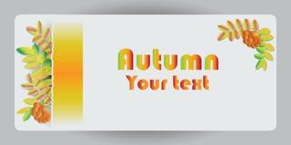 与叶子和花楸浆果的秋天横幅 向量 免版税图库摄影
