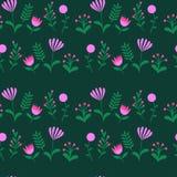 与叶子和花的五颜六色的逗人喜爱的花卉集合 免版税库存照片