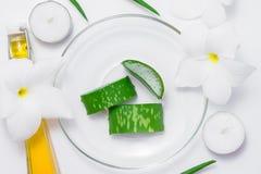 与叶子和花的新芦荟维拉切片在白色背景 免版税图库摄影