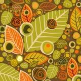 与叶子和花的秋天背景 库存照片