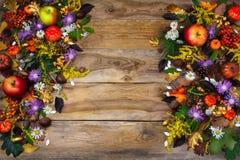 与叶子和花的秋天背景 免版税库存图片