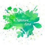 与叶子和花的花卉夏天背景 免版税图库摄影