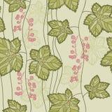 与叶子和莓果的无缝的样式 免版税库存图片