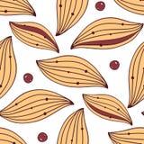 与叶子和莓果的无缝的纺织品样式 免版税库存图片