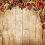 与叶子和莓果的秋天边界在葡萄酒背景 免版税库存图片
