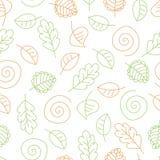 与叶子和螺旋的无缝的样式 库存例证