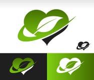 与叶子标志的Swoosh绿色心脏 免版税库存照片
