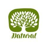 与叶子标签或商标的树 自然,有机象 字法传染媒介例证 免版税库存照片