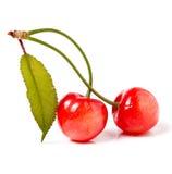 与叶子特写镜头的两棵樱桃在白色背景 免版税图库摄影