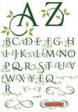 与叶子的华丽冲激字母表 免版税库存图片