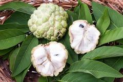 与叶子的南美番荔枝在柳条筐 免版税库存图片