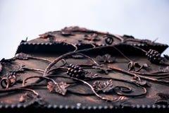 与叶子的古铜色花饰葡萄 库存图片