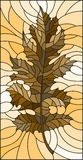 与叶子的彩色玻璃例证,定调子褐色,乌贼属 免版税库存图片