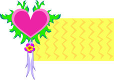 与叶子的心脏和丝带有背景 免版税库存图片