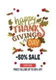 与叶子的手拉的感恩销售横幅模板, pumpki 库存图片